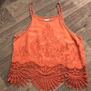 Cropped lace embroidered top